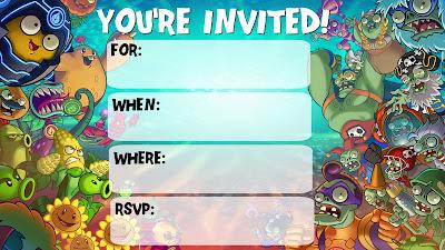 plants vs zombies printable invitations
