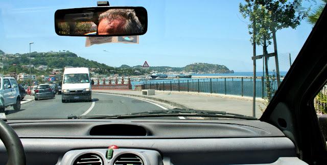 macchina, auto, veicoli, strada, more, montagne, Ischia, isola, cielo, viaggio
