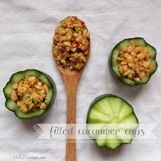 Party food- filled cucumber cups