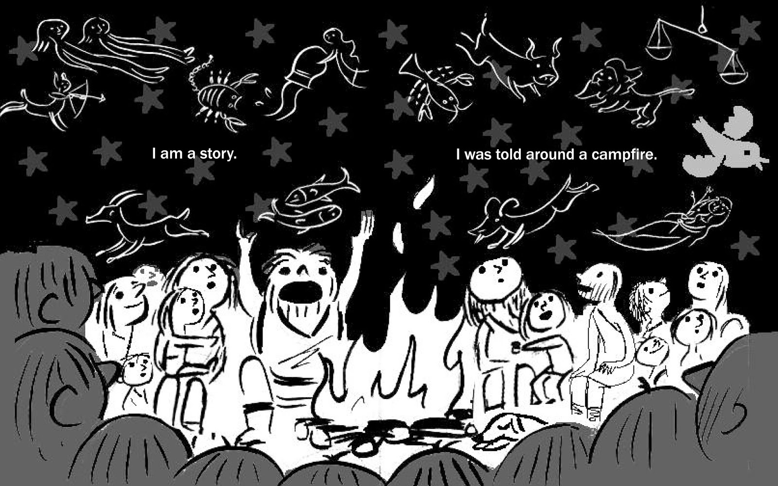 So I Combined The Image Of Early Man Around A Campfire With Signs Zodiac Swirling In Night Sky Above To Suggest That These Are Stories