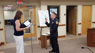 Firefighter James Polito was sworn in by Town Clerk Teresa Burr