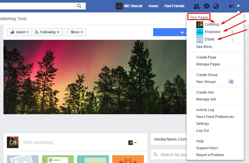 Login in to Facebook for Page