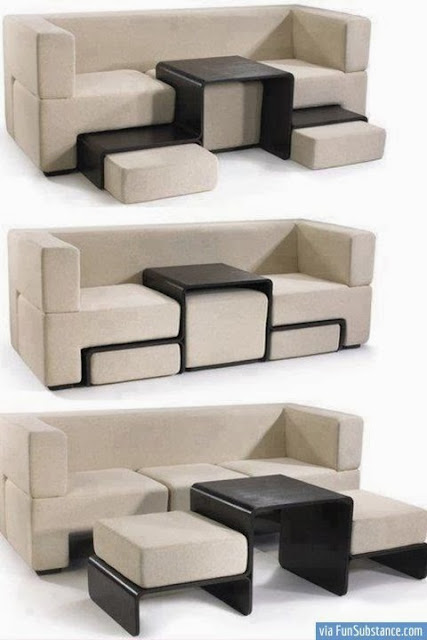 Table Attached Double Column Sofa, suits living room and laptop users