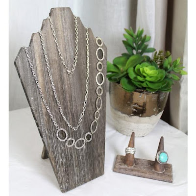 Wooden Jewelry Display Bust with Easel for 3 Necklaces from NileCorp.com