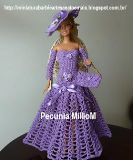 Vestido Longo de Crochê Com Luvas Para Barbie ou Susi Por Pecunia MillioM