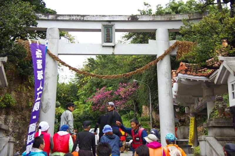 view of torii above steps leading to Hakugindo Shrine