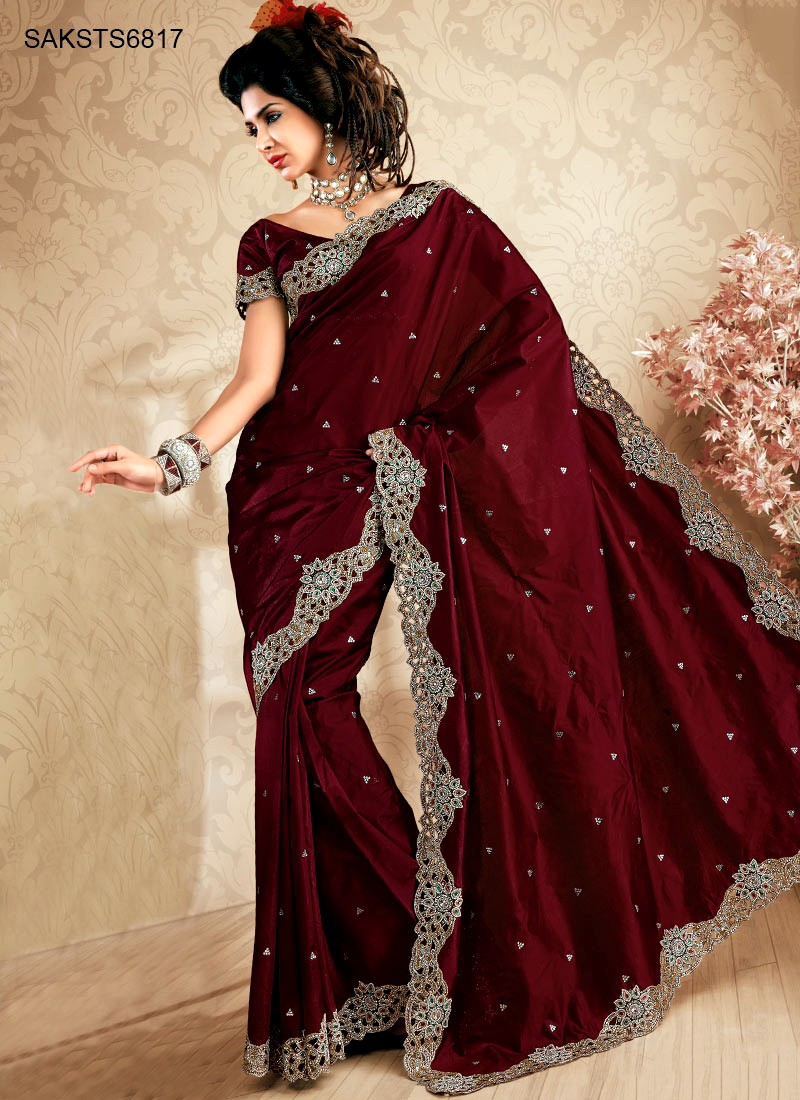 saree indian sarees maroon traditional silk evening silver latest dark designs party stylish super border womens sheideas very merlot simple