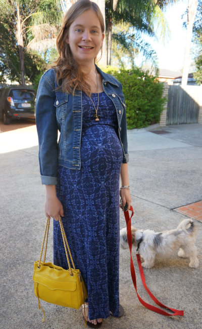 Monochrome Blue pregnancy outfit maxi dress denim jacket bright yellow RM bag
