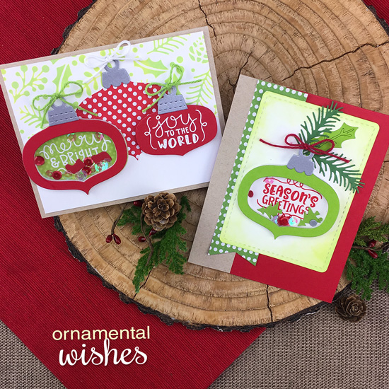 Ornament Cards by Jennifer Jackson | Ornamental Wishes Stamp Set and Ornament Shaker Die Set by Newton's Nook Designs #newtonsnook #handmade