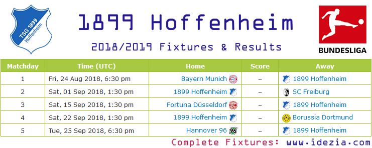 Download Full Fixtures PNG JPG 1899 Hoffenheim 2018-2019