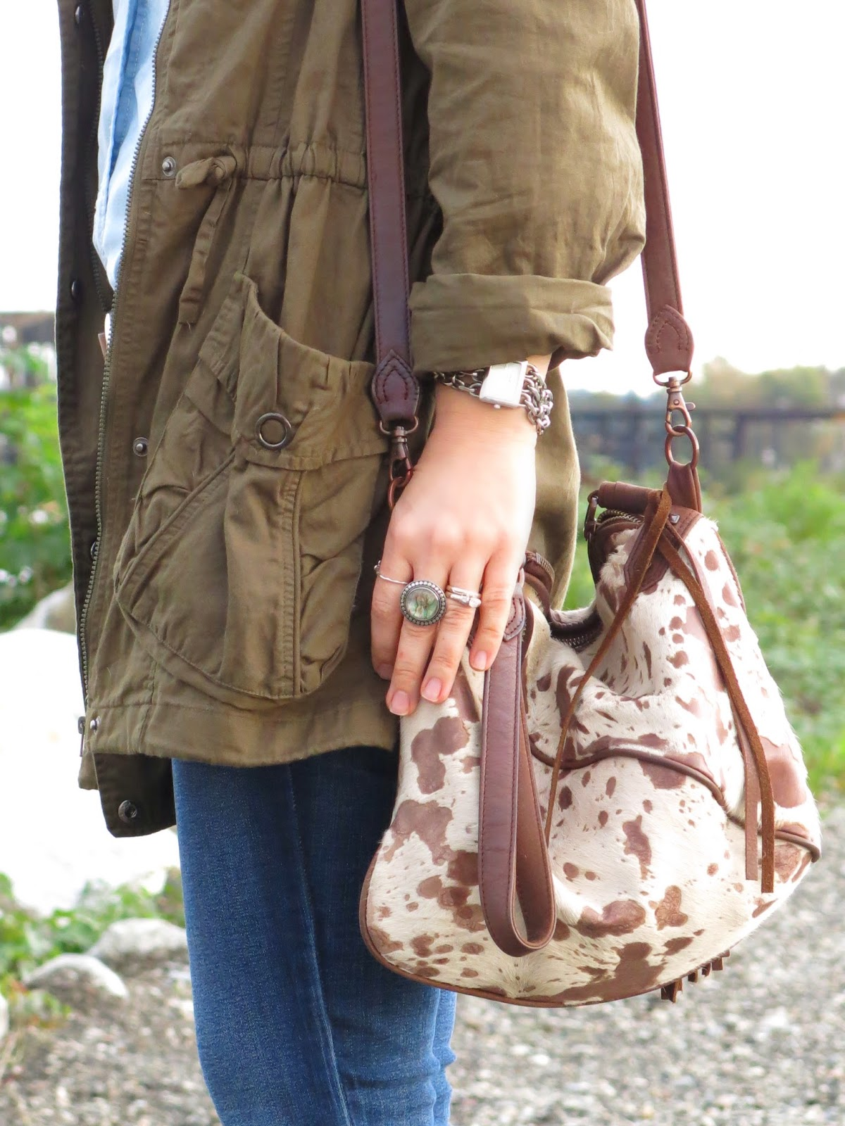 army parka and House of Harlow 1960 bag