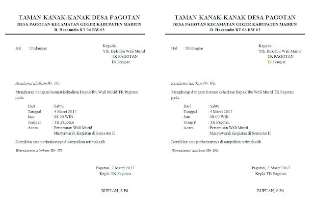 Surat undangan TK