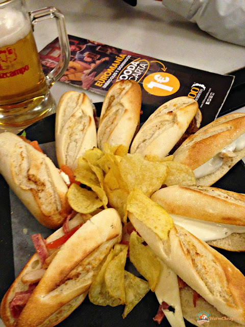 100 montaditos, cerveceria, Madrid, dove mangiare a madrid, churros, jamon, montaditos, bocadillo de calamares, cibo a madrid, piatti spagnoli