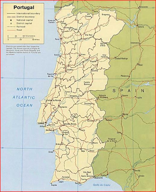 Gambar Peta politik Portugal