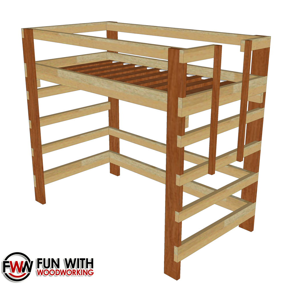 Free loft bed plans full size for Bunk bed woodworking plans
