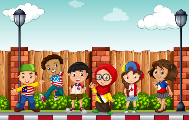 Many children standing on pavement Free Vector