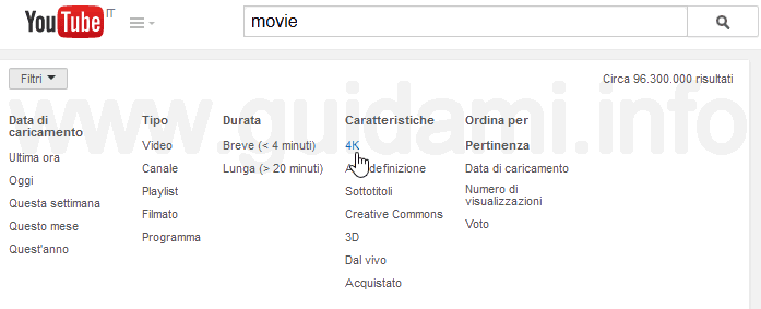 Cercare video 4K su YouTube