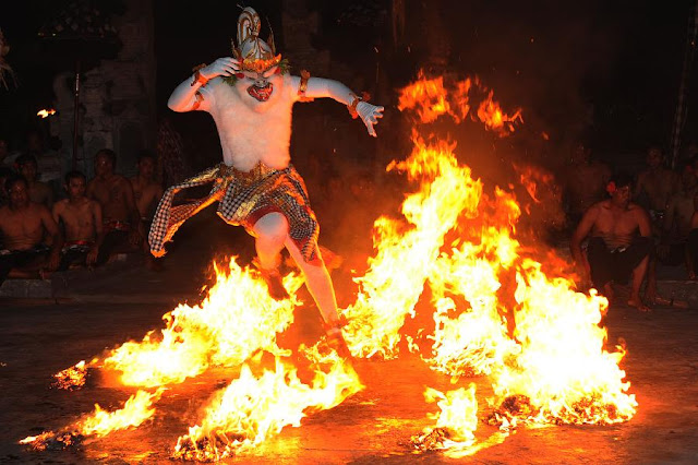 Dancer Perform Kecak Dance in Balinese