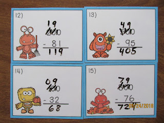 Fall Monsters Subtracting Across Zeroes Task Cards