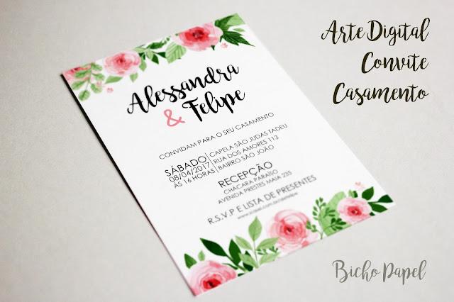 Arte Convite Casamento Floral