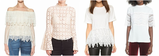 One of these lace tops is from Alexander McQueen for $2,045 and the other three are under $61. Can you guess which one is the designer top?