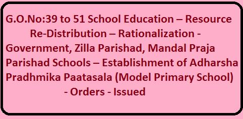 G.O.No:39 to 51 School Education – Resource Re-Distribution – Rationalization - Government, Zilla Parishad, Mandal Praja Parishad Schools – Establishment of Adharsha Pradhmika Paatasala (Model Primary School) - Orders - Issued /2016/05/gono39-to-51-school-education-resourceredistribution-rationalization.html