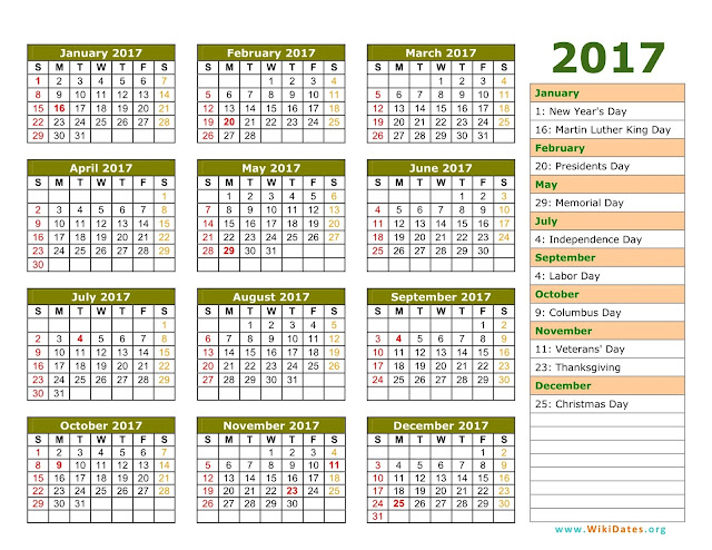 2017 Calendar with Holidays | USA UK Canada NZ SA - Get Printable ...