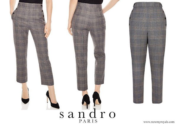 Crown Princess Mary wore Sandro Binic Plaid Button Detail Pants