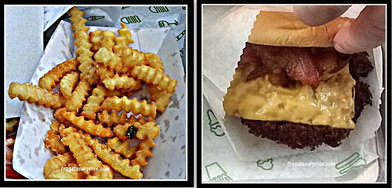 Londres - Hambúrguer e batatas fritas do Shake Shack de Covent Garde