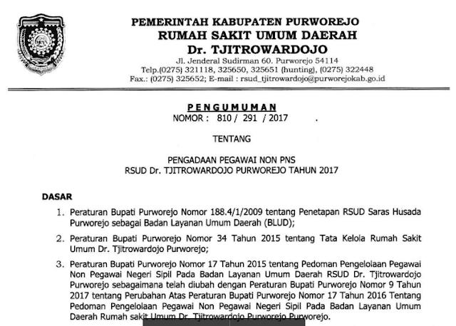 Lowongan Kerja RSUD Dr Tjitrowardojo Purworejo Tahun 2017
