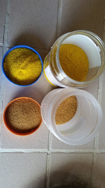 Yellow and orange turmeric powder