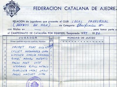 Ajedrecistas inscritos en 1975 del Casal Parroquial