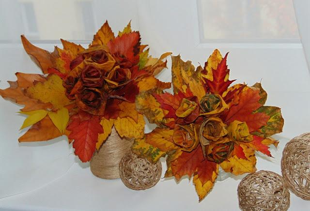 kwiaty z liści DIY