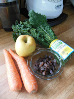 Just a few ingredients needed for Kale Apple and Carrot Slaw.