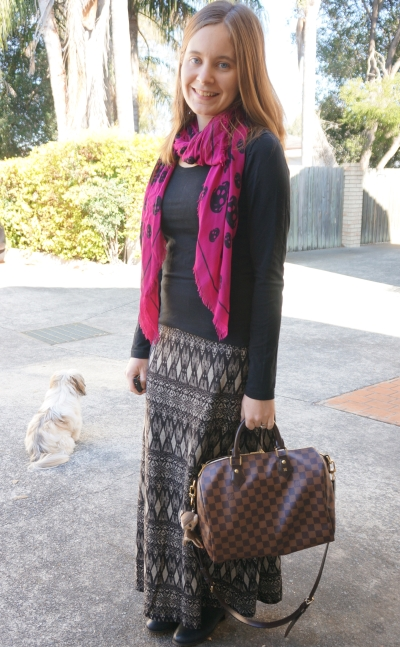 Adding colour with alexander mcqueen skull scarf neutral maxi skirt outfit