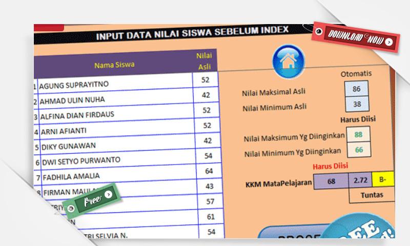 Aplikasi Untuk Menaikan Nilai Hasil Ulangan Siswa SD, SMP, SMA secara Otomatis dengan Excel