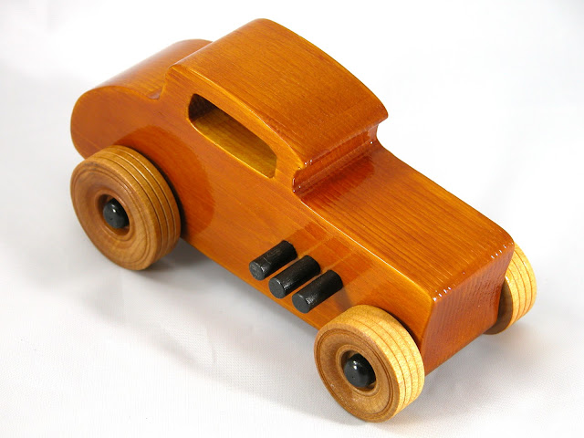 Top Right Front - Wood Toy Cars - Wooden Cars - Wood Toys - Wooden Car - Wood Toy Car - Hot Rod - 1932 Ford - 32 Deuce Coupe - Little Deuce Coupe - Roadster - Race Car