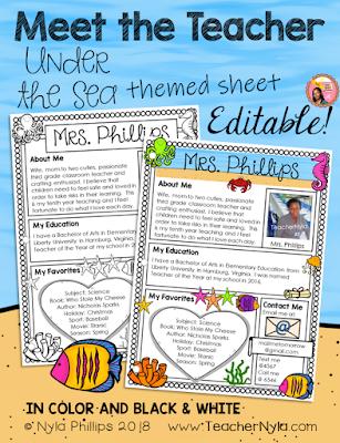 Meet the Teacher Editable Letter Template Ocean Theme