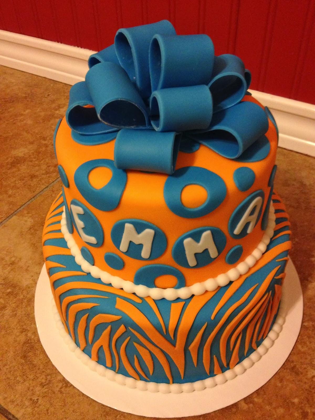 Sugar Love Cake Design Blue And Orange Zebra Stripes