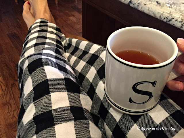 Buffalo Checked Pajamas with Sur La Table Initial Mug - Calypso in the Country Blog