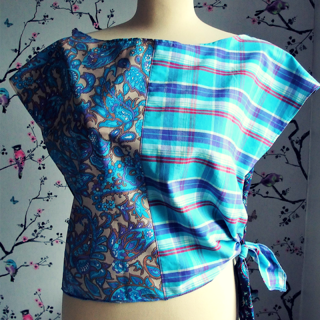 summer blues 80s tie top by karen vallerius
