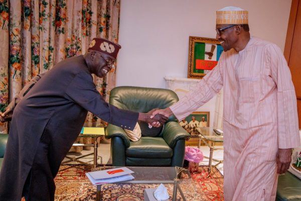 Tinubu in the villa to congratulate Buhari
