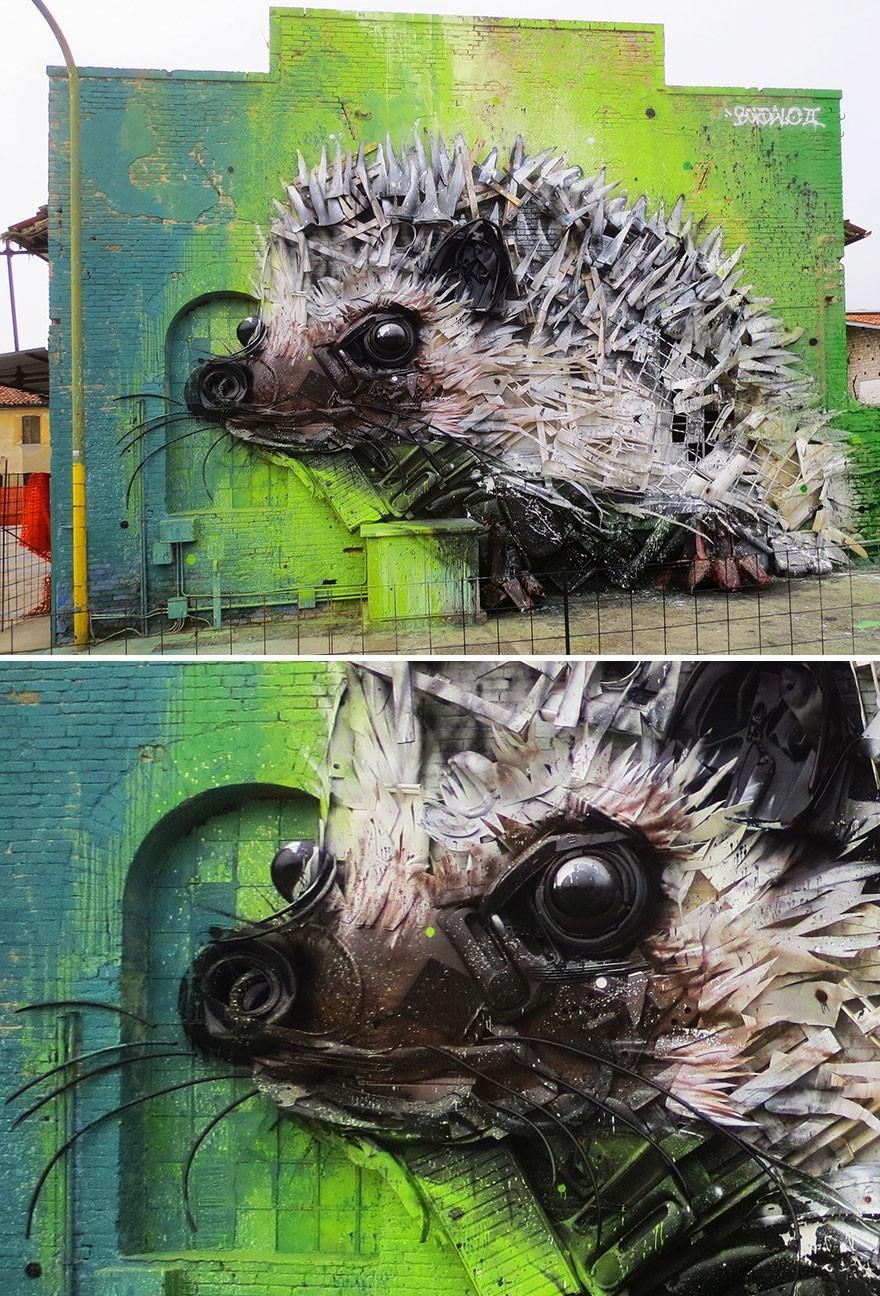 Landak - Seni Lukisan Binatang Menakjubkan Dan Kreatif Dari Bahan Sampah