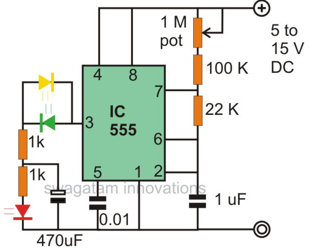 flaher and fader led using ne555 ~ electronic engineerthe above effect can be simplified by the circuit shown below here, the led which is connected to the 1 k resistor blinks at the fixed blinking rate,