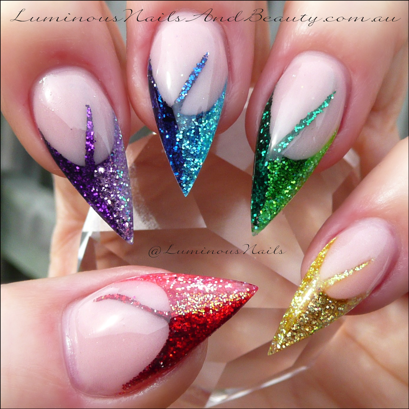 Luminous Nails: Rainbow Glitter Nails