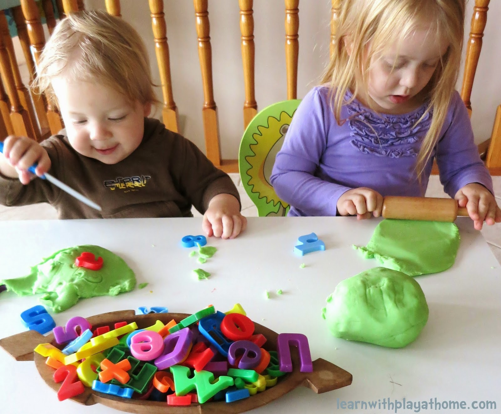 Learn With Play At Home Invitation To Play And Learn With Playdough And Magnetic Letters