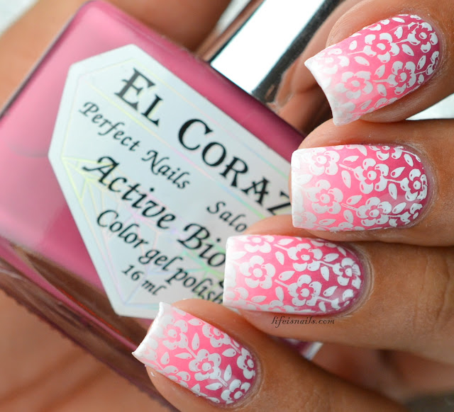 BPL024 Pink Gradient nails with stamping