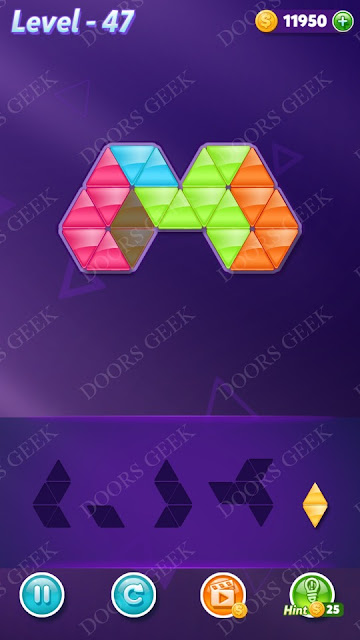 Block! Triangle Puzzle 5 Mania Level 47 Solution, Cheats, Walkthrough for Android, iPhone, iPad and iPod