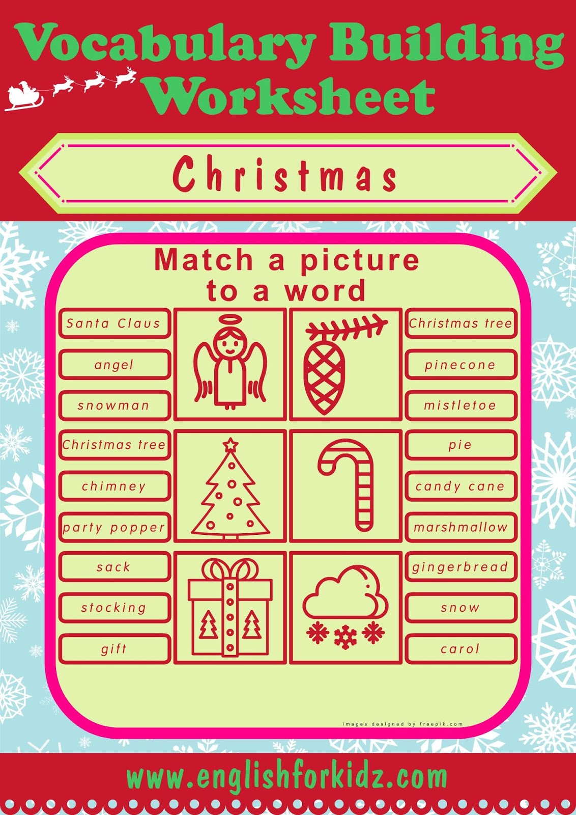 English For Kids Step By Step Christmas Worksheets