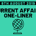 Current Affairs One-Liner: 8th August 2019
